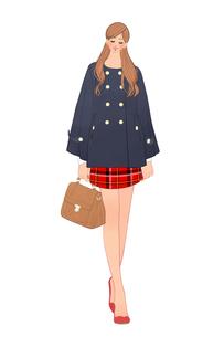 ポンチョを着てバッグを持って歩く女性のイラスト素材 [FYI01639905]