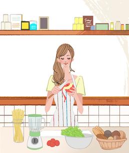 キッチンでエプロンをしてりんごをむく女性のイラスト素材 [FYI01639906]