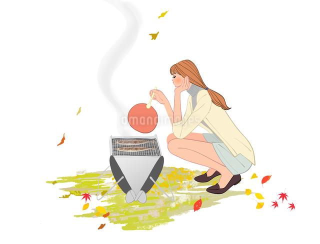 秋にバーベキューコンロでさんまを焼く女性のイラスト素材 [FYI01639908]