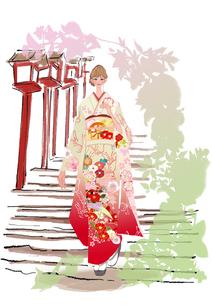 初詣の着物姿の女性のイラスト素材 [FYI01639909]