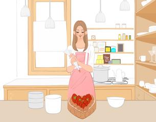 キッチンでイチゴののったチョコレートケーキを作る女の子のイラスト素材 [FYI01639912]