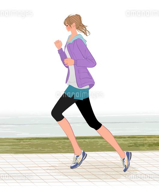 朝もやの河川敷をジョギングするポニーテールの女の子のイラスト素材 [FYI01639914]