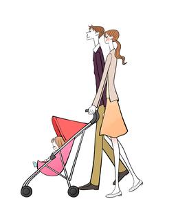 ベビーカーに乗った赤ちゃんとパパとママのイラスト素材 [FYI01639915]