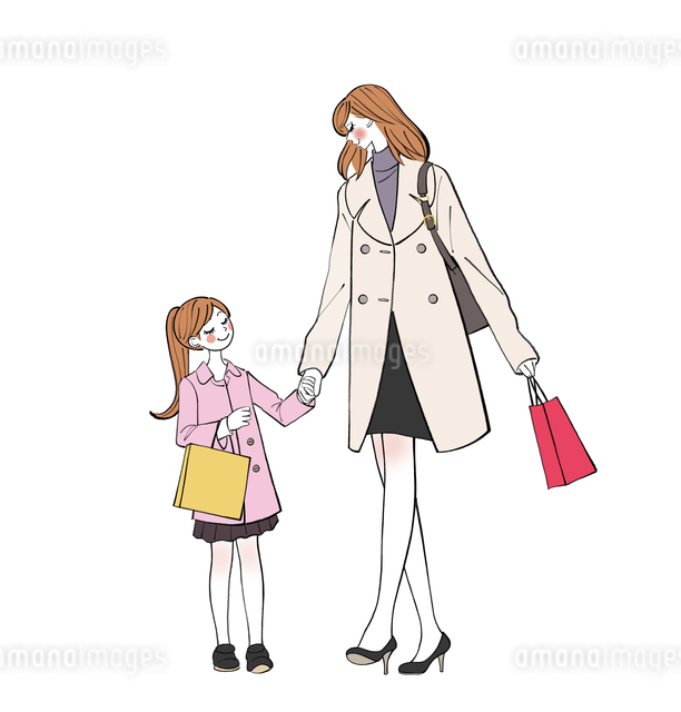 手をつないで買い物をして歩くママと子供のイラスト素材 [FYI01639917]