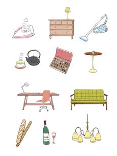 インテリア小物、家具、雑貨のイラスト素材 [FYI01639918]