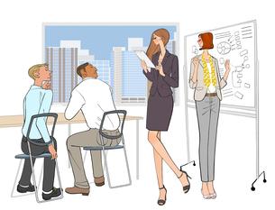 会議で説明する女性社員と話を聞く男性社員のイラスト素材 [FYI01639922]