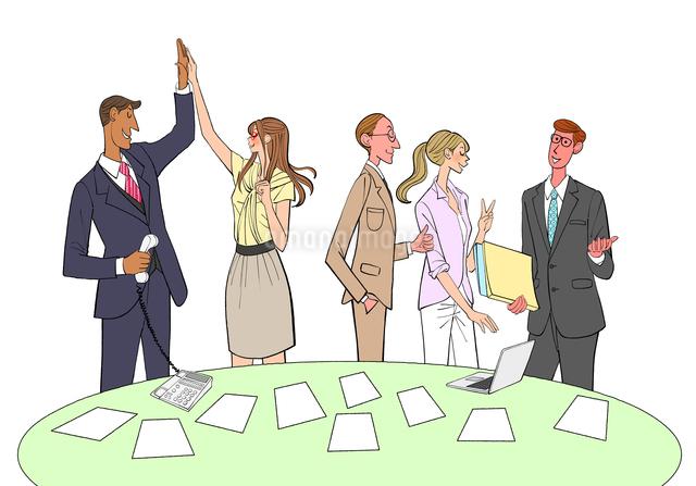 仕事の成功を喜ぶ女性社員と男性社員のイラスト素材 [FYI01639923]