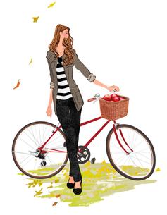 自転車と女の子のイラスト素材 [FYI01639924]