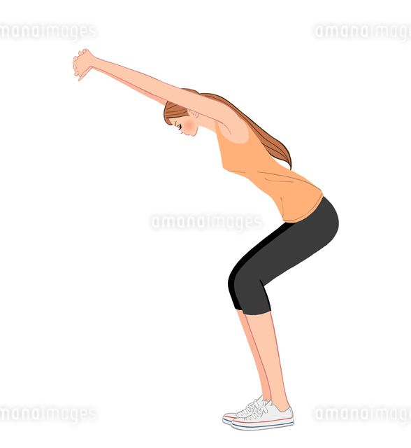 背中から太ももを鍛えるスクワットをする女性のイラスト素材 [FYI01639925]
