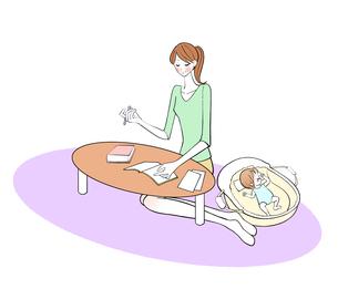 寝ている赤ちゃんの横で勉強するママのイラスト素材 [FYI01639937]