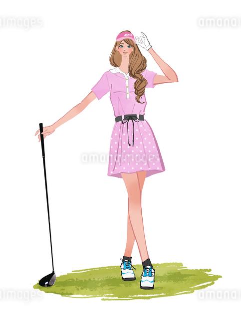 ドライバーを持つゴルフウェアと帽子をかぶる女性のイラスト素材 [FYI01639941]