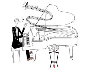 ピアノを演奏するパパと拍手する娘のイラスト素材 [FYI01639952]