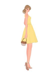 ドレスを着て振り返るポニーテールの女性のイラスト素材 [FYI01639953]