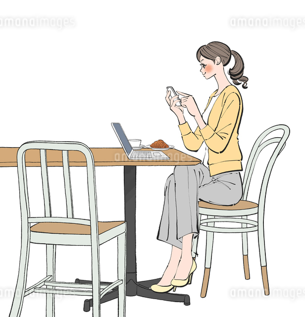 カフェでスマホやパソコンで仕事する女性のイラスト素材 [FYI01639956]