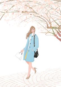 桜の木の下を歩く買い物帰りのコートを着た女の子のイラスト素材 [FYI01639959]