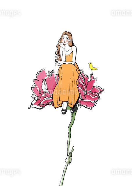 花に腰掛けるワンピースの女性のイラスト素材 [FYI01639960]