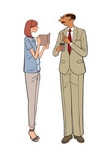 会社で話す上司と部下の女性のイラスト素材 [FYI01639961]