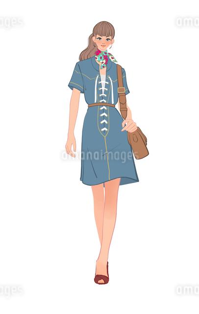 70年代ファッションの女の子のイラスト素材 [FYI01639965]