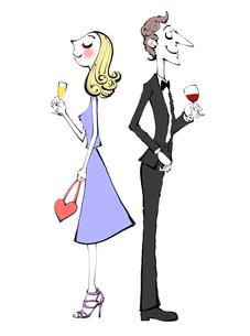 ワインを飲む正装したカップルのイラスト素材 [FYI01639970]