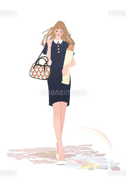 買い物しバゲットを持って街を散歩する女性のイラスト素材 [FYI01639971]