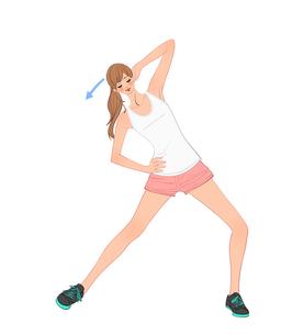 腰に手をあてて体を倒す運動をする女性のイラスト素材 [FYI01639975]