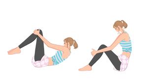 寝転んで腹筋運動をする女の子のイラスト素材 [FYI01639979]
