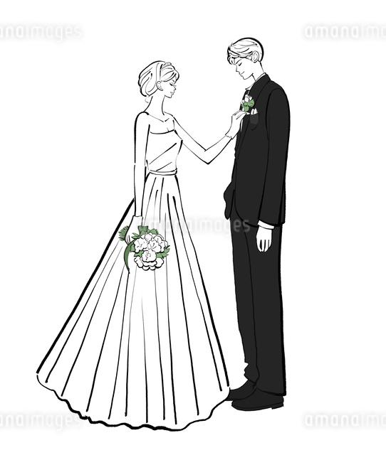 ウェディングドレスを着た花嫁と新郎のイラスト素材 [FYI01639980]
