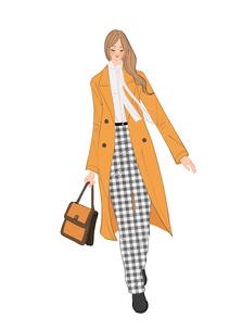 チェスターコートを着てカバンを持って出かける女性のイラスト素材 [FYI01639984]