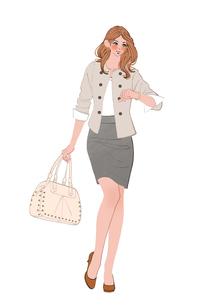 歩きながら腕時計を見るOLの女性のイラスト素材 [FYI01639985]