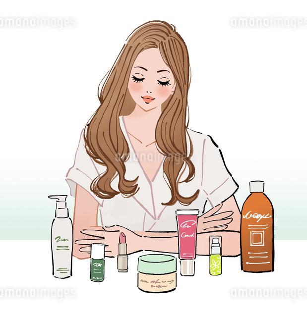 並べた化粧品の前に座るロングヘアーの女性のイラスト素材 [FYI01639987]