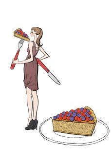 ナイフとフォークでケーキを食べるワンピースの女性のイラスト素材 [FYI01639993]