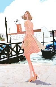 イタリアの海沿いの街に立つ女性のイラスト素材 [FYI01639996]