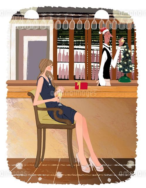クリスマスにバーでワインを飲む女性とバーテンダーのイラスト素材 [FYI01640000]
