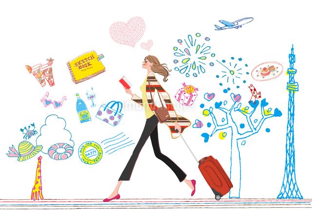手帳を持ちスーツケースを引いて街を歩く女性のイラスト素材 [FYI01640009]