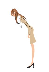おじぎをするOLの女性のイラスト素材 [FYI01640010]
