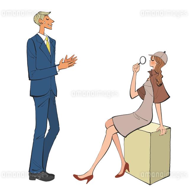 言い訳をする男性の話を疑いながら聞く女性のイラスト素材 [FYI01640011]
