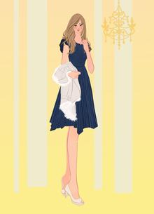 パーティーでドレスを着てコートを持つ女の子のイラスト素材 [FYI01640012]