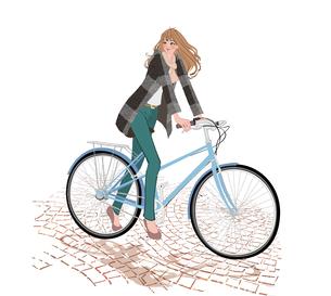 秋冬の服装でパンプスを履き街で自転車に乗る女の子のイラスト素材 [FYI01640013]