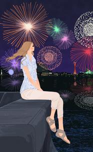 海辺で堤防に座り花火を見る女の子のイラスト素材 [FYI01640014]