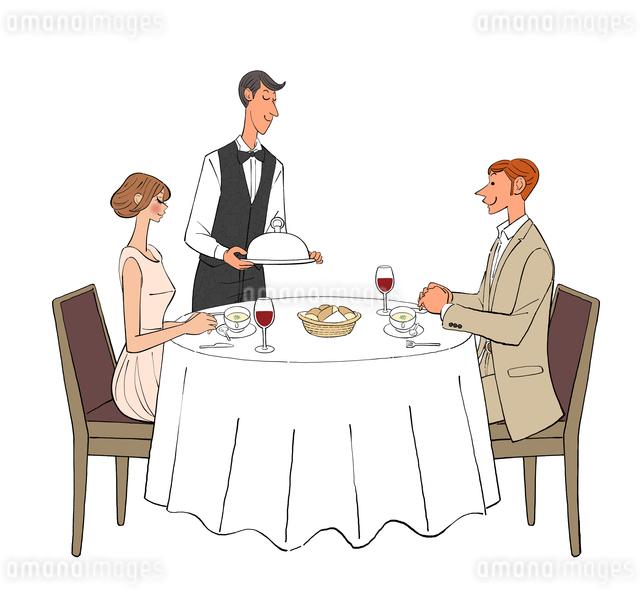 レストランで食事するカップルと料理を運ぶウェイターのイラスト素材 [FYI01640018]