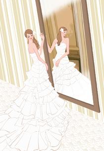 結婚式の前に鏡を見るウェディングドレスの花嫁のイラスト素材 [FYI01640019]