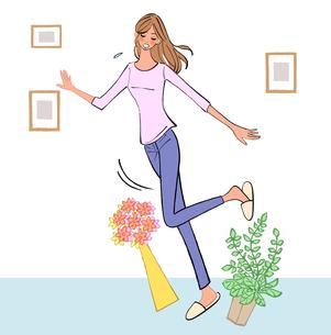 よろめいて足元の物につまずく女の子のイラスト素材 [FYI01640023]