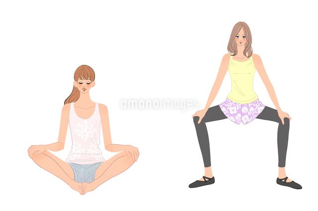 足を開いてストレッチする女の子のイラスト素材 [FYI01640024]