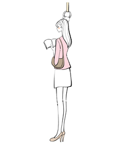 電車でつり革につかまり本を読む若い女性のイラスト素材 [FYI01640030]