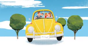 車に乗って遊びに出かける家族のイラスト素材 [FYI01640033]