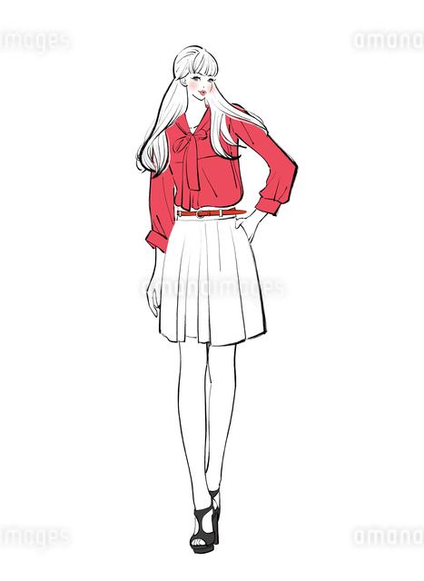 腰に手をあてて立つ女性のイラスト素材 [FYI01640034]
