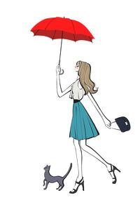 傘を差して猫と歩く女性のイラスト素材 [FYI01640037]