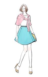 春にカーディガンを肩に巻いたミニスカートの女性のイラスト素材 [FYI01640040]