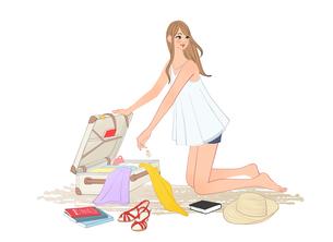 スーツケースに荷物を入れ旅行の準備をする女性のイラスト素材 [FYI01640041]