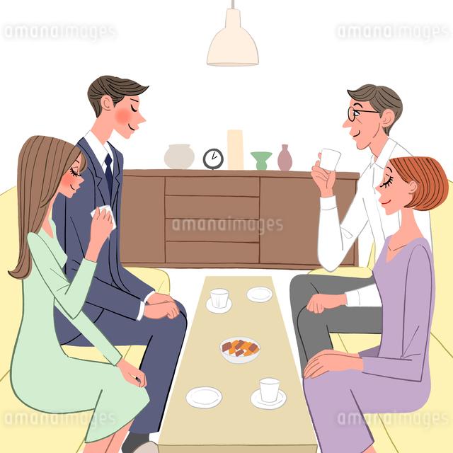 結婚のあいさつに行くカップルと両親のイラスト素材 [FYI01640049]